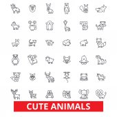 Cute funny puppy baby animals cat dog owl monkey rabbit fish teddy bear line icons Editable strokes Flat design vector illustration symbol concept Linear signs isolated on white background