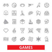 Video games sports hobby passion console play online gaming gambling line icons Editable strokes Flat design vector illustration symbol concept Linear signs isolated on white background