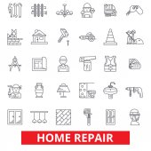 Home repair house improvement renovation handyman construction remodeling line icons Editable strokes Flat design vector illustration symbol concept Linear signs isolated on white background