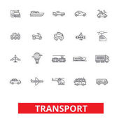 Transport car truck ship tram bus delivery vehicle logistics motorcycle line icons Editable strokes Flat design vector illustration symbol concept Linear signs isolated on white background