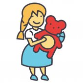 Girl with teddy bear concept Line vector icon Editable stroke Flat linear illustration isolated on white background
