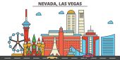 Nevada Las VegasCity skyline: architecture buildings streets silhouette landscape panorama landmarks icons Editable strokes Flat design line vector illustration concept