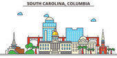 South Carolina ColumbiaCity skyline: architecture buildings streets silhouette landscape panorama landmarks icons Editable strokes Flat design line vector illustration concept