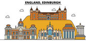 England Edinburgh City skyline: architecture buildings streets silhouette landscape panorama landmarks Editable strokes Flat design line vector illustration concept Isolated icons set