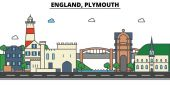 England Plymouth City skyline: architecture buildings streets silhouette landscape panorama landmarks Editable strokes Flat design line vector illustration concept Isolated icons set