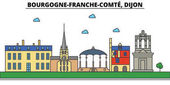 France Dijon Bourgogne Franche Comte  City skyline: architecture buildings streets silhouette landscape panorama landmarks Editable strokes Flat design line vector illustration concept
