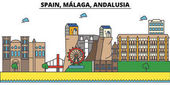 Spain Malaga Andalusia City skyline: architecture buildings streets silhouette landscape panorama landmarks Editable strokes Flat design line vector illustration Isolated icons set