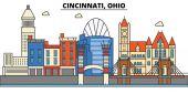 Cincinnati Ohio City skyline: architecture buildings streets silhouette landscape panorama landmarks Editable strokes Flat design line vector illustration concept Isolated icons