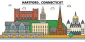 Hartford Connecticut City skyline: architecture buildings streets silhouette landscape panorama landmarks Editable strokes Flat design line vector illustration concept Isolated icons