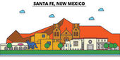 Santa Fe New Mexico City skyline architecture buildings streets silhouette landscape panorama landmarks Editable strokes Flat design line vector illustration Isolated icons