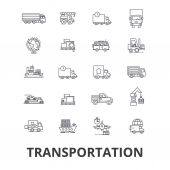 Transportation truck logistic transport car train ship vehicle delivery line icons Editable strokes Flat design vector illustration symbol concept Linear isolated signs