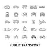 Public transport transportation subway bus stop traffic taxi city bus line icons Editable strokes Flat design vector illustration symbol concept Linear signs isolated