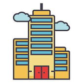 Skyscrapper flat line illustration concept vector isolated icon
