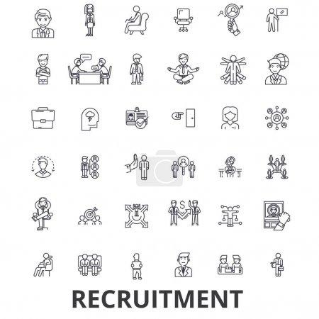 Illustration pour Recrutement, embauche, ressources humaines, carrière, entrevue, emploi, icônes de la ligne de dotation. Coups modifiables. Conception plate vectoriel illustration symbole concept. Signes linéaires isolés sur fond blanc - image libre de droit