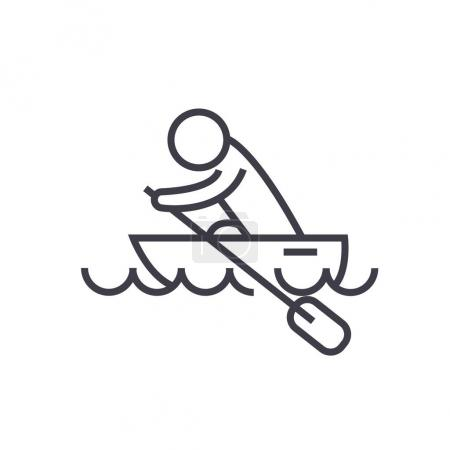 Boat race, kayaks, rowing race flat line illustration, concept v
