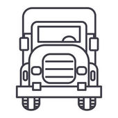 truck front view vector line icon sign illustration on background editable strokes