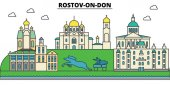 Russia Rostov On Don City skyline architecture buildings streets silhouette landscape panorama landmarks Editable strokes Flat design line vector illustration concept Isolated icons set