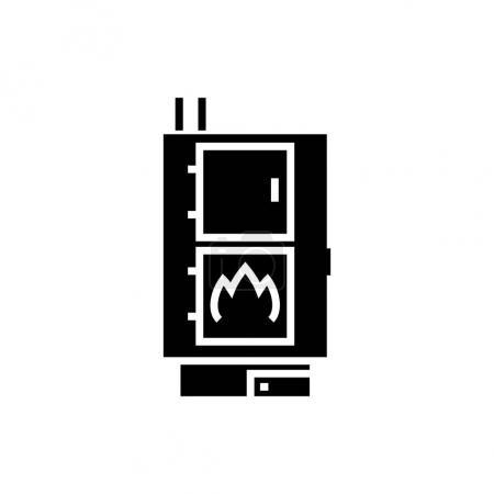 Illustration pour Chaudière à combustible solide icône poêle à granulés, illustration, signe vectoriel sur fond isolé - image libre de droit