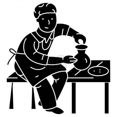 Illustration pour Poterie, potier, icône céramique, illustration vectorielle, signe noir sur fond isolé - image libre de droit