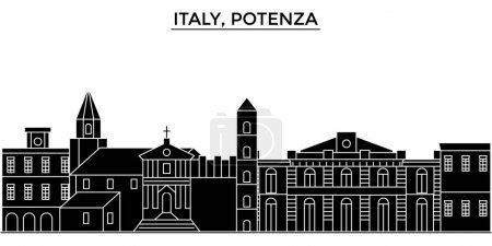 Italy, Potenza architecture vector city skyline, travel cityscape with landmarks, buildings, isolated sights on background