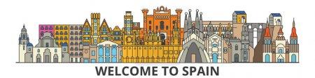 Illustration for Spain outline skyline, spanish flat thin line icons, landmarks, illustrations. Spain cityscape, spanish vector travel city banner. Urban silhouette - Royalty Free Image