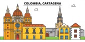 Colombia Cartagena City skyline architecture buildings streets silhouette landscape panorama landmarks Editable strokes Flat design line vector illustration concept Isolated icons