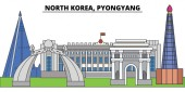 North Korea Pyongyang City skyline architecture buildings streets silhouette landscape panorama landmarks Editable strokes Flat design line vector illustration concept Isolated icons