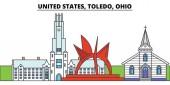 United States Toledo Ohio City skyline architecture buildings streets silhouette landscape panorama landmarks Editable strokes Flat design line vector illustration concept Isolated icons