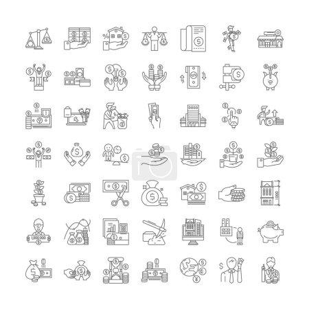 Franchise business line icons, signs, symbols vect...