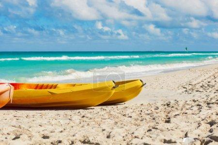Kayaks at the beach of Varadero in Cuba