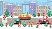 Pixel art xmas city scenery vector pattern background