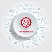 Icons For Medical Specialties Microbiology Concept Vector Illustration With Hand Drawn Medicine Doodle