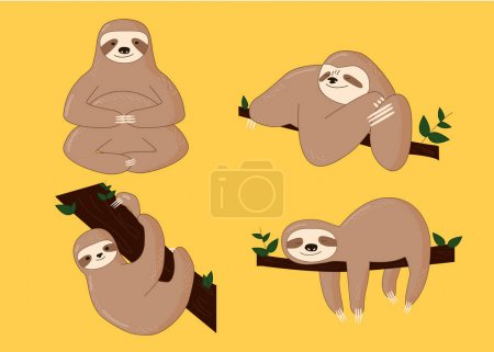 Illustration for Sloth Poses Cartoon Vector Illustration cute for print - Royalty Free Image