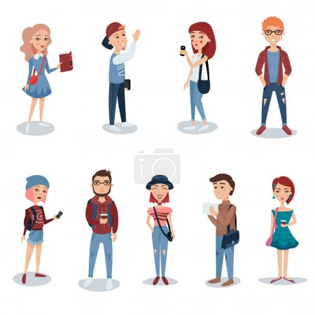 Illustration for Young people in casual clothes standing set. Students with books, phones and backpacks characters vector illustrations isolated on a white background - Royalty Free Image
