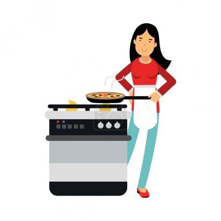 Illustration pour Belle jeune femme brune femme au foyer cuisinant dans la cuisine, vecteur Illustration sur fond blanc - image libre de droit