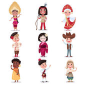Kids in national costumes of different countries set cute boys and girls in traditional clothes colorful vector Illustrations