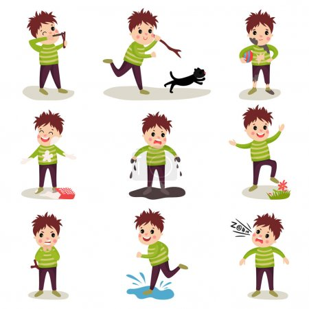 Illustration for Cartoon character of naughty kid. Shooting with slingshot, torturing animals, making mess, playing in mud, jumping on puddle, talking dirty words. Trouble boy. Bad behavior. Flat vector illustration. - Royalty Free Image