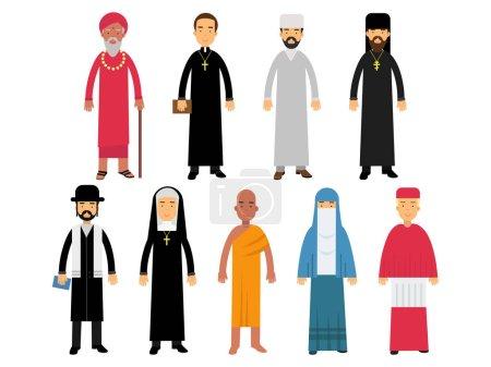 Illustration pour Ministres des religions, représentants du bouddhisme, représentants du catholicisme, islam, orthodoxie, hindouisme, judaïsme religions vecteur Illustrations isolées sur fond blanc - image libre de droit