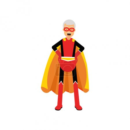 Illustration for Super grandfather, senior man superhero wearing orange cape standing with hands on hip vector Illustration isolated on a white background - Royalty Free Image