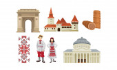 National Food Architecture And Culture Of Romania Vector Illustration Set Isolated On White Background