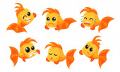 Set of cute goldfish Vector illustration on a white background