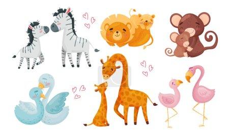 Illustration pour Zoo Maman Animaux avec leurs louveteaux étreignant et les Cockering ensemble vectoriel. Créatures de bande dessinée jouissant de l'amour parental et concept de soins - image libre de droit