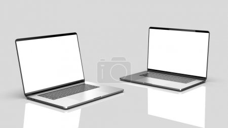 Photo pour Ensemble d'ordinateurs portables, des modèles sur un fond sombre. Modèle, maquette, conception . - image libre de droit