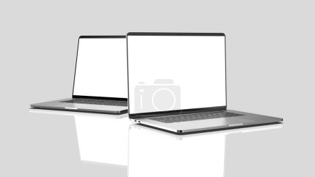 Photo for Set of laptops, templates on a dark background. Template, mockup, design. - Royalty Free Image
