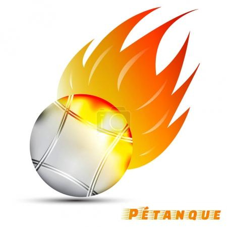 Boules with red orange yellow tone fire in the white background. sport ball logo design. petanque logo. pantangue is original name of boules. sport of France. vector. illustration. graphic.