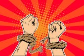 Freedom arms breaking the chains of slavery pop art retro style