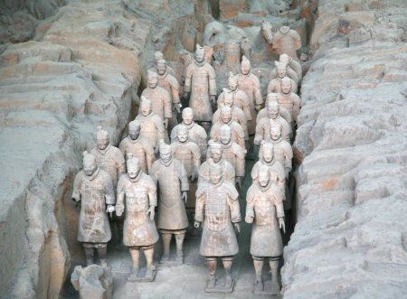 XI'AN, CHINA - NOVEMBER 19, 2016 The Terracotta Army is a collection of terracotta sculptures depicting the armies of Qin Shi Huang, the first Emperor of China
