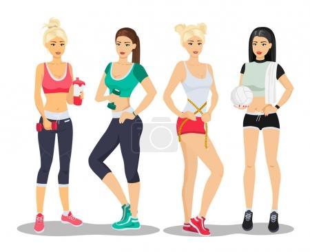 Illustration pour Beaux modèles de fitness sport filles. Jeune femme gymnase plat vecteur illustration - image libre de droit