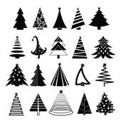 Vector illustration set of christmas trees silhouette on white background. Flat style.