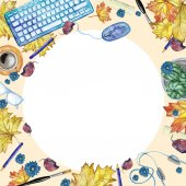 Watercolor background with objects for study and knowledge top view with a round frame in the middle of white a pattern for the decor by September 1